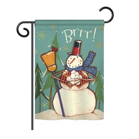 Breeze Decor - Winter Snowman Brrr! Winter - Seasonal Winter Wonderland Impressions Decorative Vertical Garden Flag 13