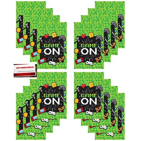 Gaming 16 Pack Video Gamer Party Plastic Loot Treat Candy Favor Bags (Plus Party Planning Checklist Mikes Super Store)