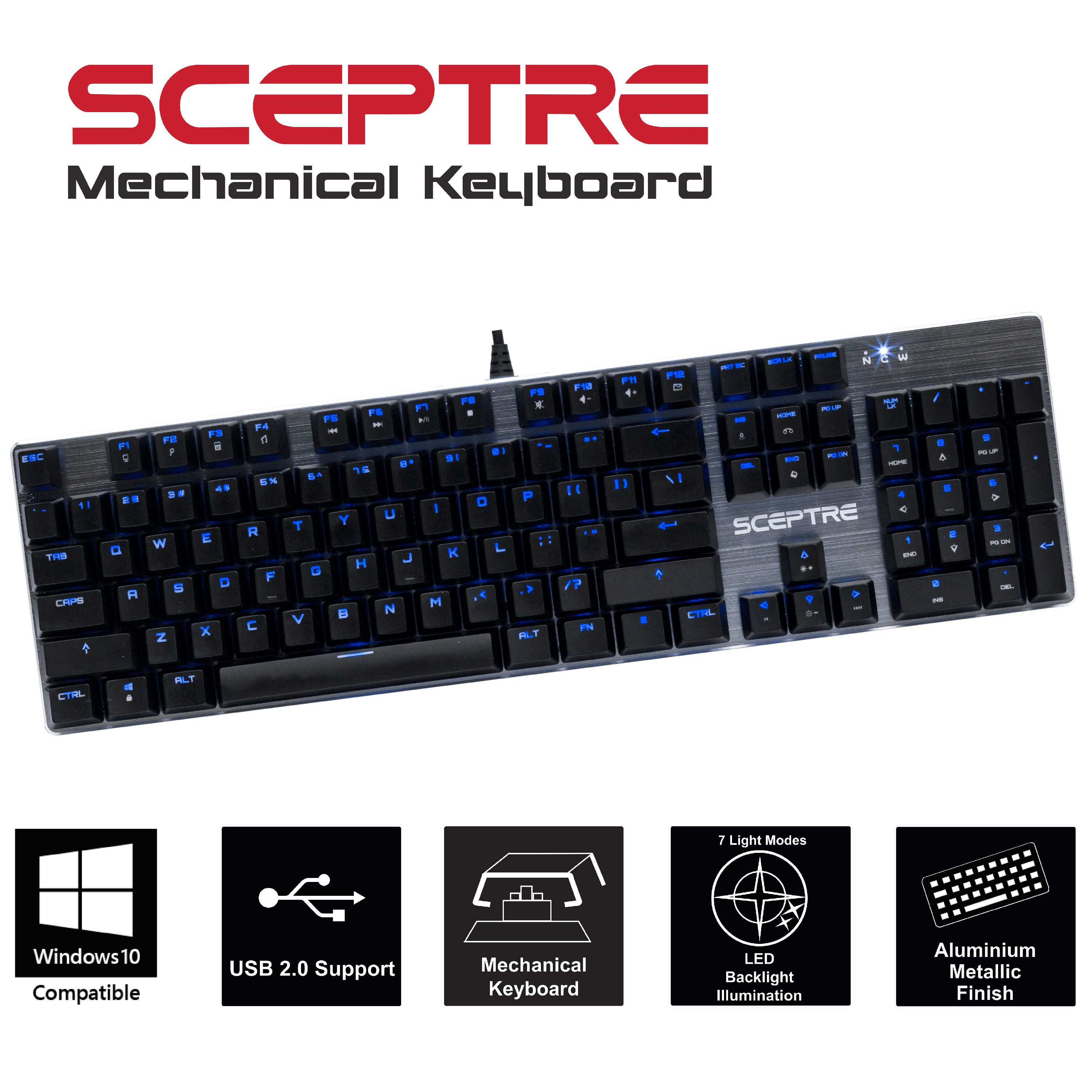 Sceptre SK-604 104 Key USB Wired Illuminated Mechanical Gaming Keyboard - Blue Switch - Green LED Backlit