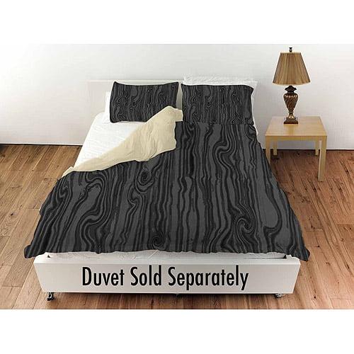 "Thumbprintz Wood Grain Large Scale Black Standard Sham, 30"" x 22"""