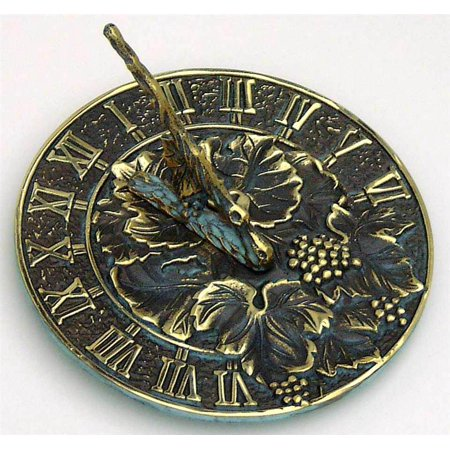 Brass Happiness Sundial - Brass Sundial with Grapevine Accents