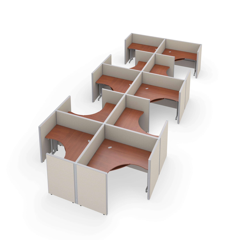 "OFM RiZe Series 47"" x 60"" 1-Unit Full Vinyl Panels Workstation Kit, 2 x 5 Configuration, Beige with Cherry Desk"