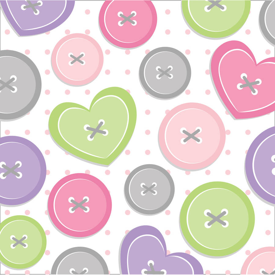 Cute as a Button Girl Beverage Napkins, 16-Pack