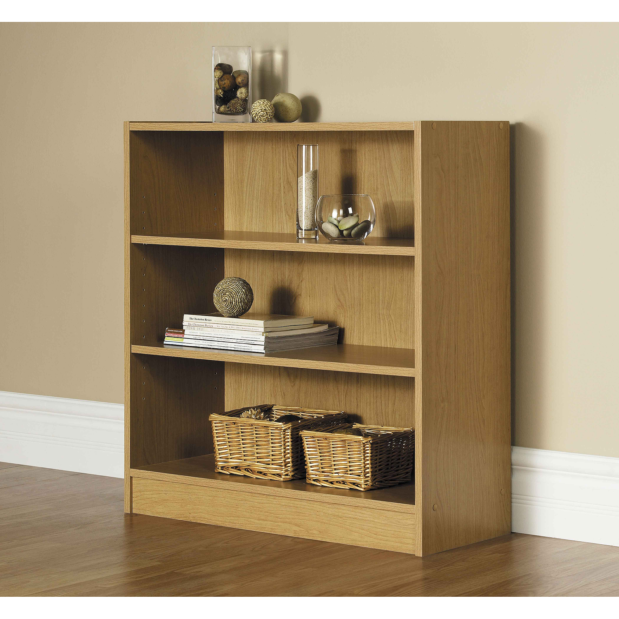 Orion Wide 3-Shelf Standard Bookcase, Multiple Finishes