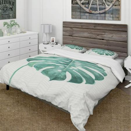 DESIGN ART Designart 'Mixed Botanical Green Leaves VI' Cottage Bedding Set - Duvet Cover & Shams (Green Iridium Sonnenbrille)