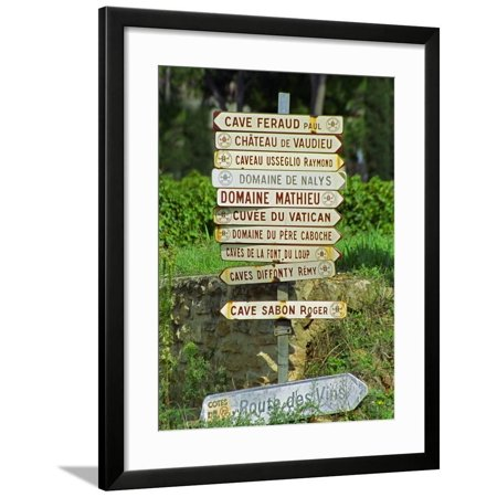 Road Signs to Wine Producers in Chateauneuf-Du-Pape, Provence, France Framed Print Wall Art By Per