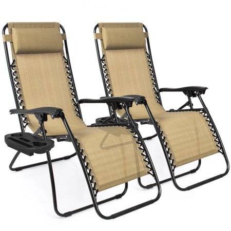 Zero Gravity Lounge Chair Recliners Set of 2 Adjustable Online Sale