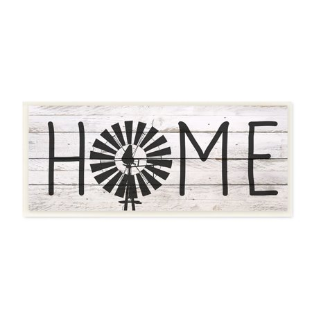 The Stupell Home Decor Farmhouse Planked Look Home Sign with Windmill Wall Plaque Art, 7 x 17