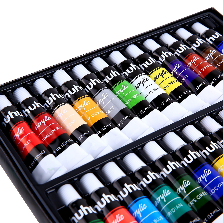 Acrylic Paint Set 24 Colors Of Ohuhu Artist S Acrylic Painting Kit Acrylic Paints For Stone Canvas Wood Clay Fabric Nail Art Ceramic Crafts