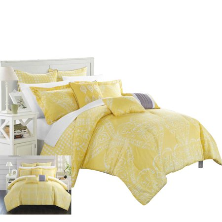 Yellow Comforter - Parma Sicily Reversible 12 Piece Comforter Bed In A Bag King & Queen Yellow