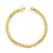 "14K Yellow Gold Mens 7.5mm Hollow Miami Cuban Link Chain Bracelet, 7.5""-9"""