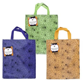 Set of 6 Spider Web Halloween Treat Bags! 3 Bright and Beautiful Colors - 13' X 14' - Ages 4+ - Adorable Spider Web Treat Bags Perfect for Parties, Gifts, (Disney's Halloween Treat 3 Box Set)