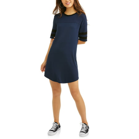 (Poof! Juniors' T-Shirt Dress with Sleeve Stripes)