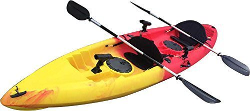 BKC UH-TK181 12.5 foot Sit On Top Tandem Fishing Kayak Paddles and Seats included by Brooklyn Kayak Company