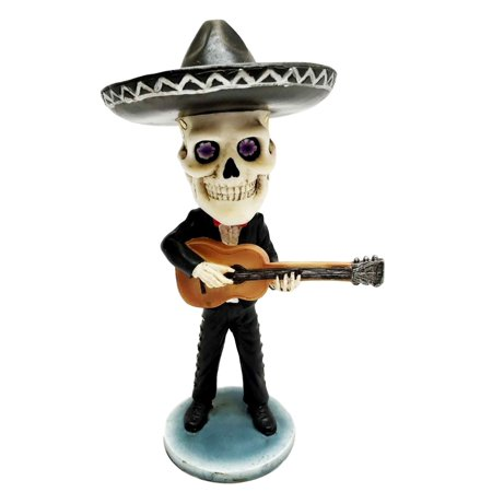 Day of The Dead Mariachi Guitar Player Skeleton Bobblehead Figurine Skull, This exotic Bobblehead stands at 6 3/8
