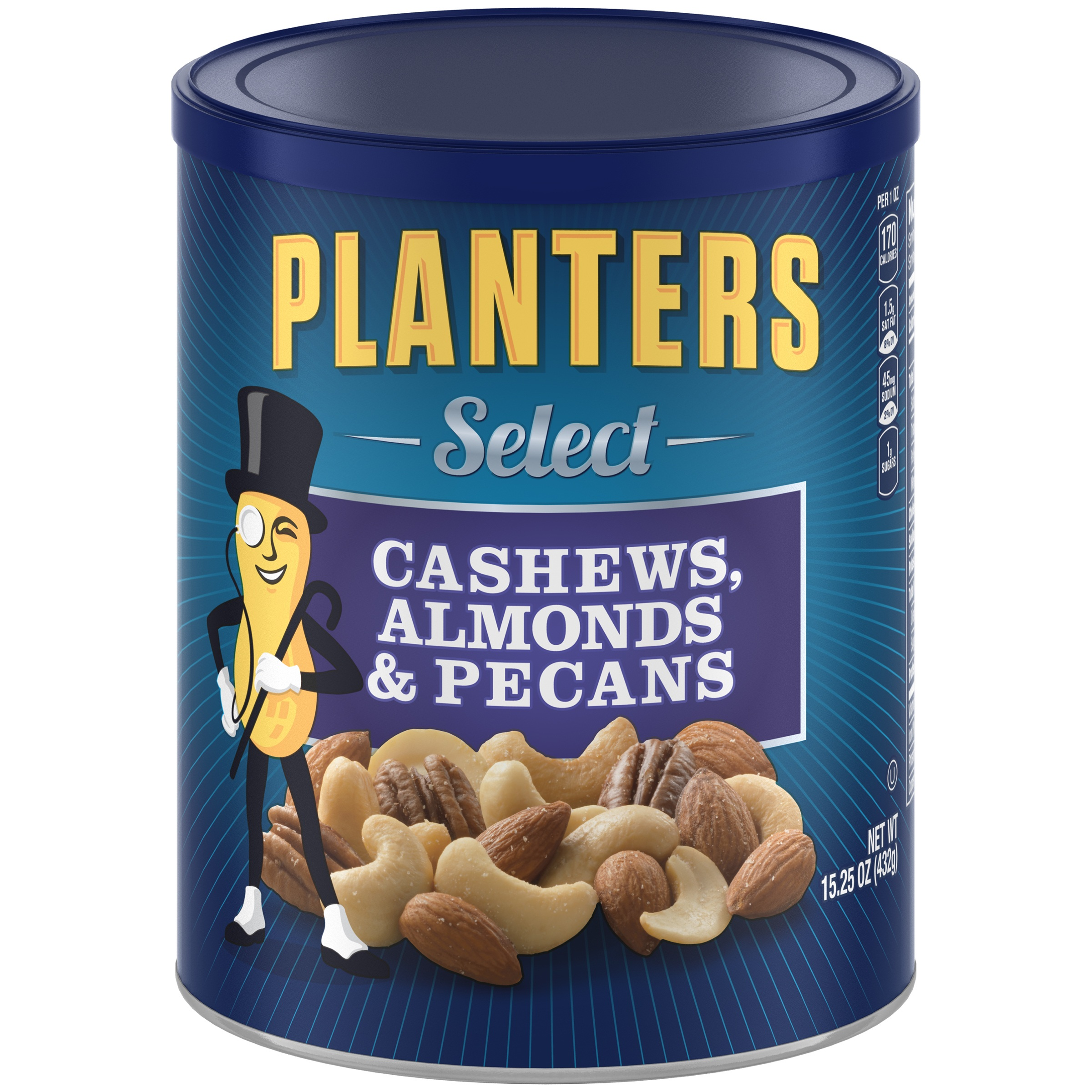 Planters Select Almonds, Cashews, and Pecans, 15.25 oz Canister