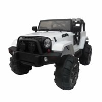 12V Kids Battery Powered Ride On Car Jeep w/ Parent Control, LED Lights, MP3 Player, 3 Speeds ,Black, Best for Boy Christmas Gift