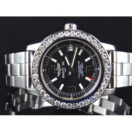 Breitling Custom Ladies Diamond Breitling Aeromarine Colt 33 A77387 Watch 2.5 Ct Custom Ladies Breitling Aeromarine Black Colt 33 A77387 Diamond Watch 2.5 Ct