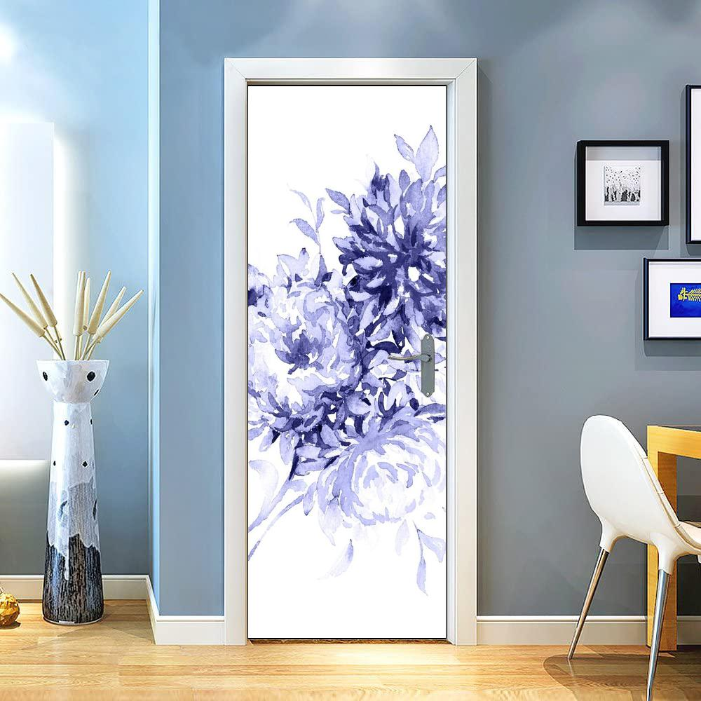 3d Door Sticker Flower Blue White Elegent Aesthetic Artistic Elegance Simple Wall Wallpaper Decals Sticker For Home Decor Diy Removable 30 3 X 78 7 77 X 200cm Walmart Canada