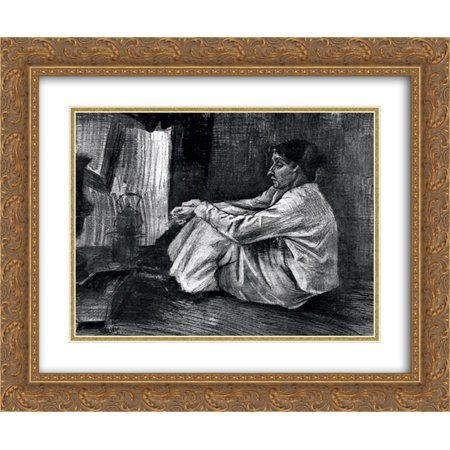 - Vincent van Gogh 2x Matted 24x20 Gold Ornate Framed Art Print 'Sien with Cigar Sitting on the Floor near Stove'