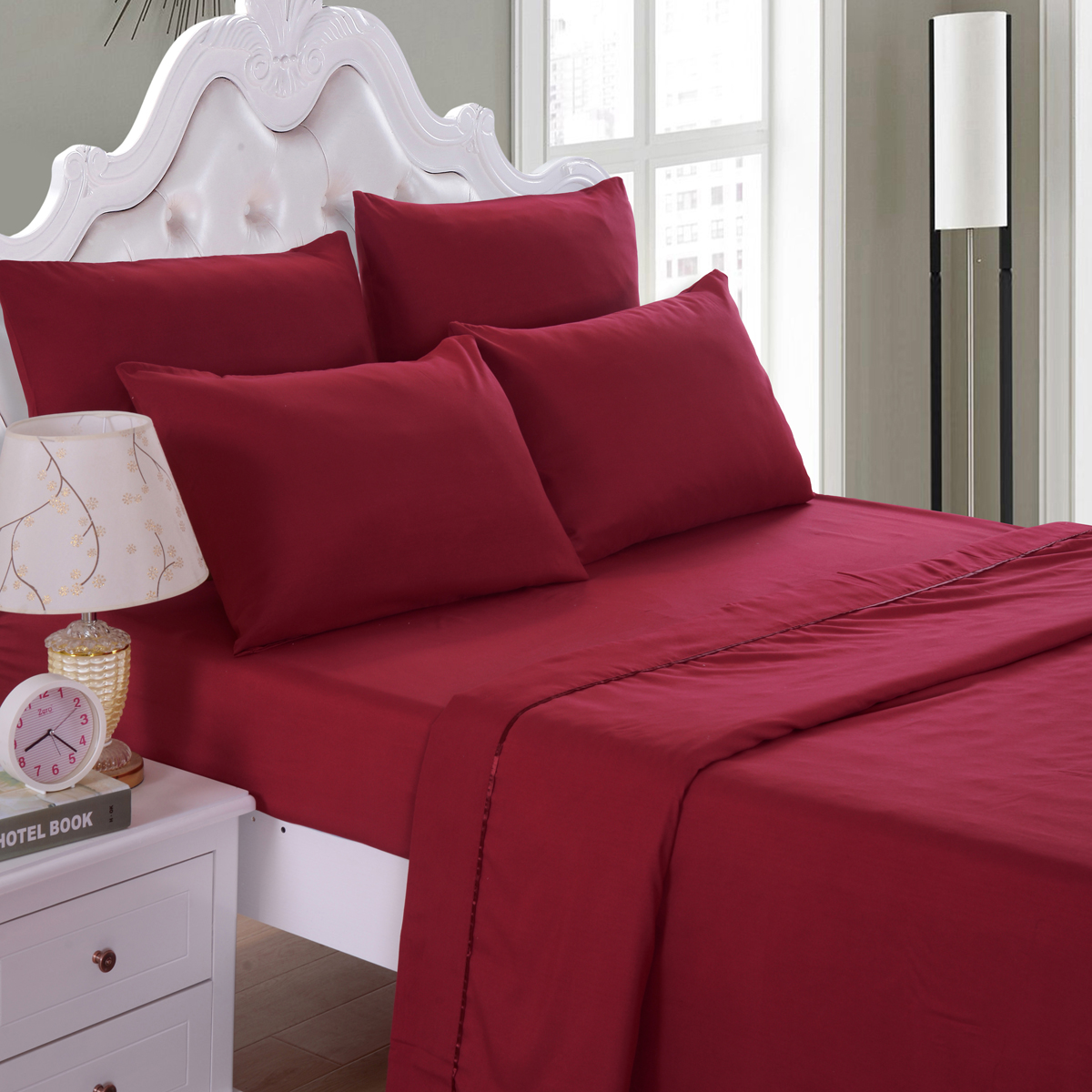 6 Piece Soft Microfiber Bed Sheet Set Deep Pocket Up To 16 Wrinkle Fade Resistant Collection Queen King Full Twin