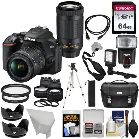 Nikon D3500 Digital SLR Camera + 18-55mm VR + 70-300mm DX AF-P Lenses with 64GB Card + Case + Flash + Tripod + LED Light + 2 Lens