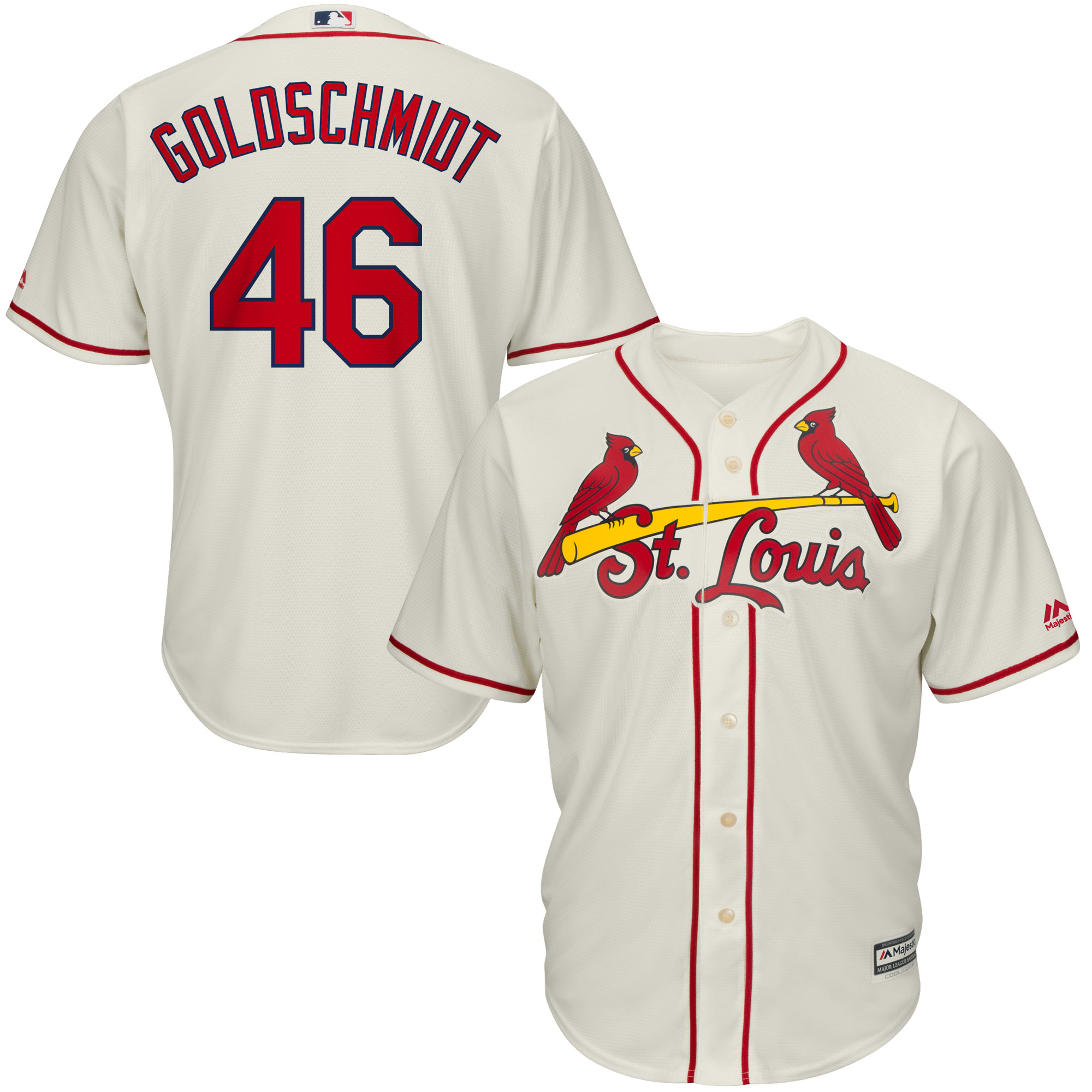 Paul Goldschmidt St. Louis Cardinals Majestic Alternate Official Cool Base Player Jersey - Cream
