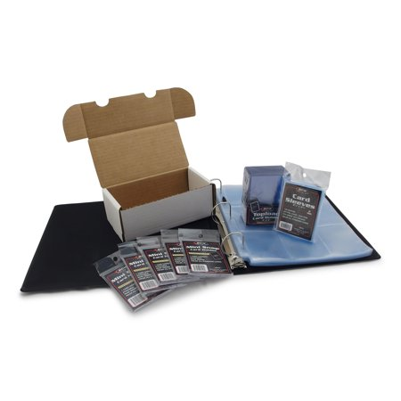 Football Card Collecting Starter Kit - Album, Pages, Sleeves, Toploaders, Mini-Snap Holders and Storage Box - Everything you need to store and protect your sports card collection - by Hobbymaster -