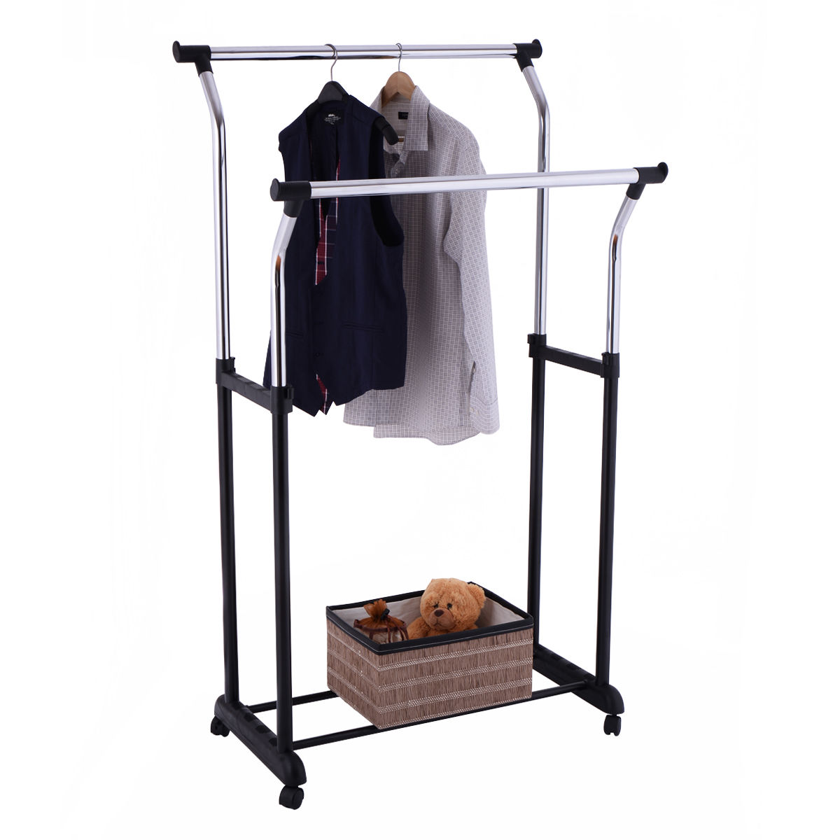 Double rail adjustable rolling garment rack clothes hanger laundry drying rack