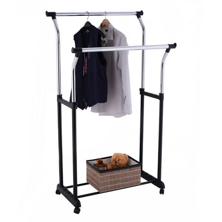 Costway Double Rail Adjustable Rolling Garment Rack Clothes Hanger Laundry Drying Rack (Clothing Rack Hanger)