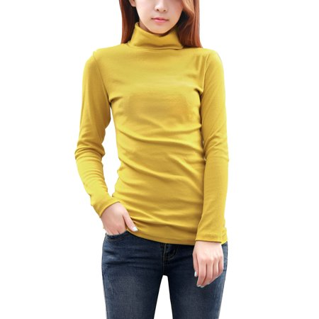 Women's Long Sleeve Turtle Neck Wrap Back Stretch Autumn Blouse Yellow 14