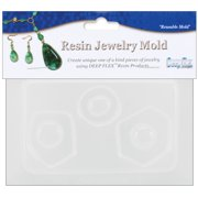 "Resin Jewelry Reusable Plastic Mold, 3 Small Abstract Shapes, 3.5"" x 4.5"""
