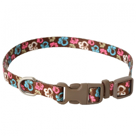 """Pet Attire Styles Adjustable Dog Collar Special Paw Brown - 8""""-12"""" Long x 3/8"""" Wide"""