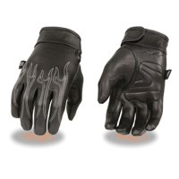 9f712903ebf03 Product Image Milwaukee Mens Premium Leather Cruiser Gloves w/Flame  Embroidery & Gel Palm Black