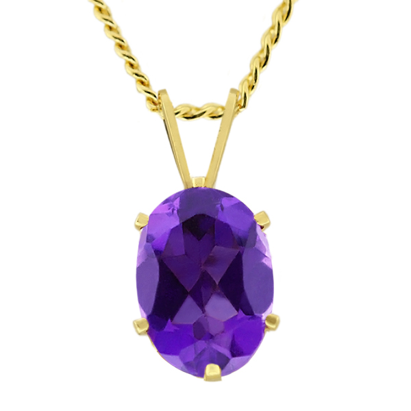 """1.50 Ct Oval 9X7mm Purple Amethyst Gold Plated Pendant With 18"""" Chain"""