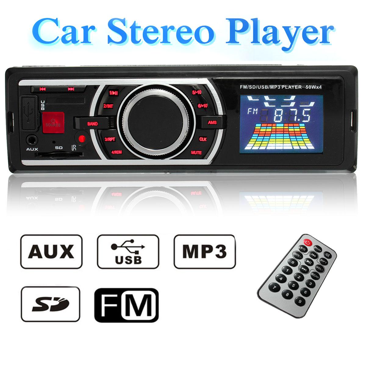 Remote Control Car Stereo FM Radio MP3 Hand Free Music Player Calls In-Dash Single Din USB SD AUX