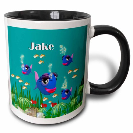 3dRose This vibrant artwork of Fish under the sea is personalized with the name Jake - Two Tone Black Mug, 11-ounce](Under The Sea Items)