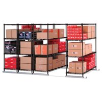 "OFM X5 Lite Series Model X5L4-3618 36"" x 18"" 4-Unit Complete Sliding Shelf Storage System, Black"