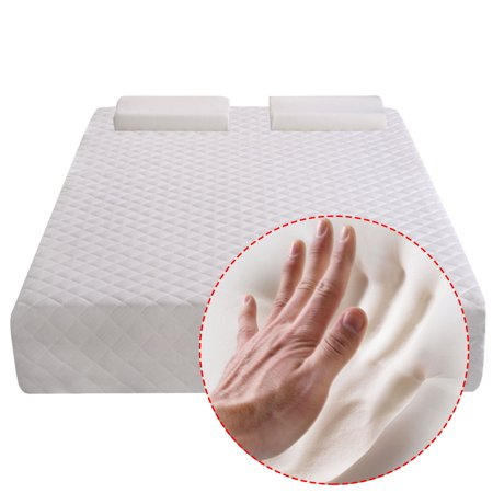 Foam Mattress Bed Pad - Costway Queen Size 10'' Memory Foam Mattress Pad Bed Topper 2 FREE Pillows