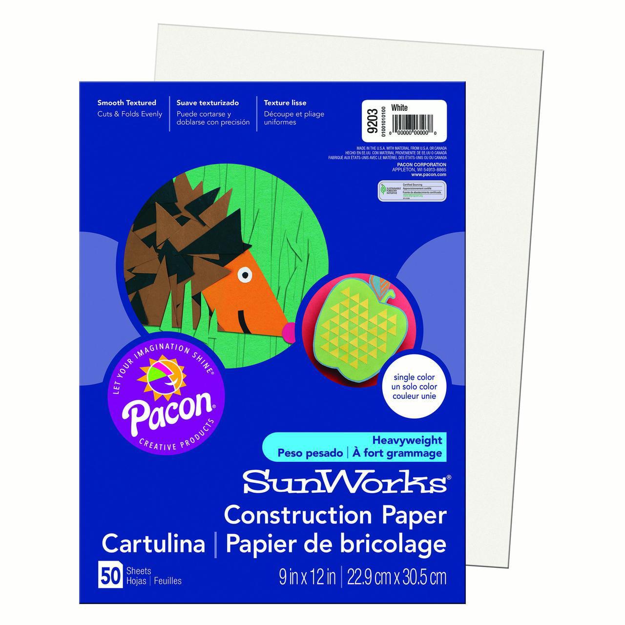 "Pacon® SunWorks® Construction Paper, 9"" x 12"", White - 50 Sheets per pack, 25 packs"