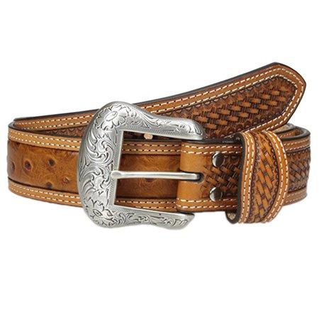 Nocona Men's Basketweave Ostrich Print Belt Cognac (Belt Vintage Cognac)