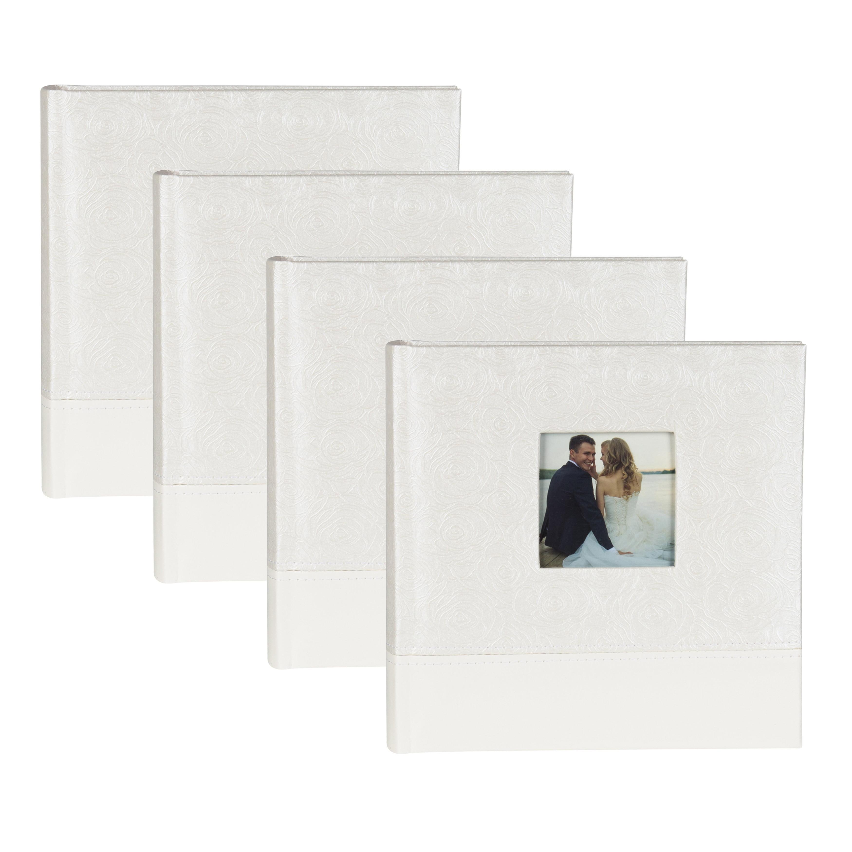 Designovation White Fabric Bridal Wedding Photo Opening Photo Album (Set of 4) by Overstock