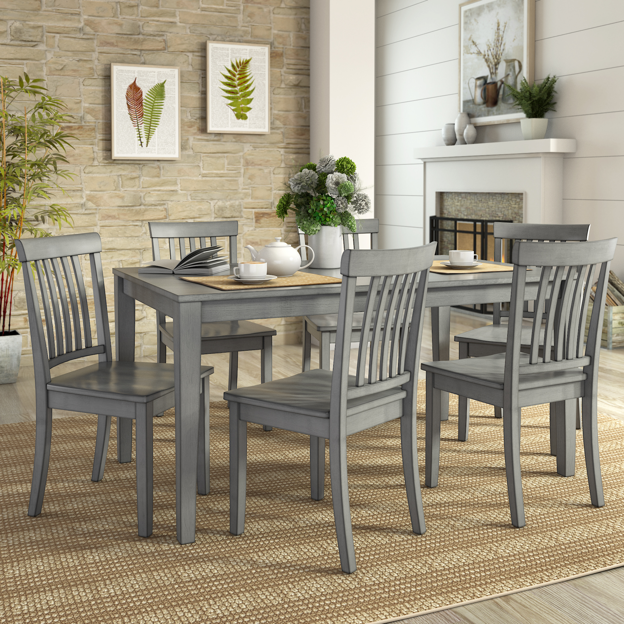 Lexington Large Dining Set with 6 Mission Back Chairs
