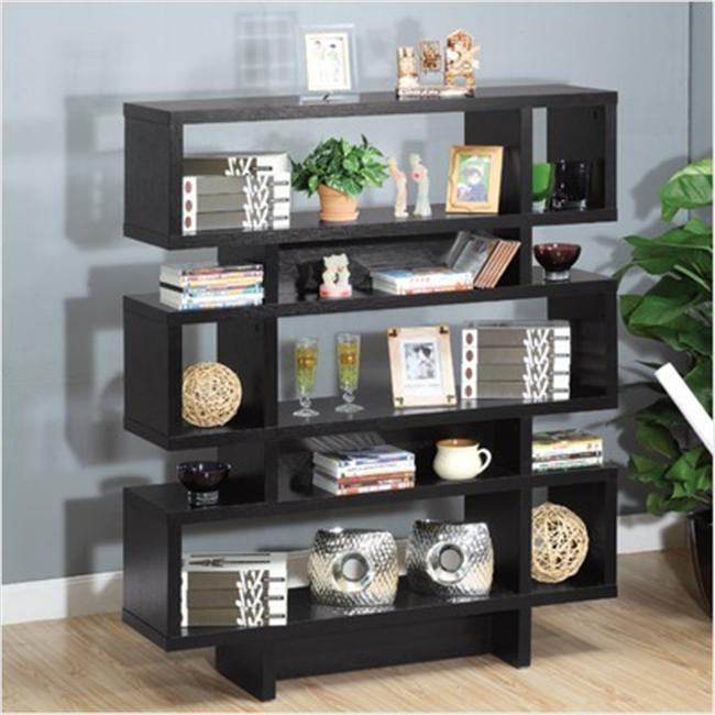 Enitial Lab MAR-051BLK Celio 3-Tier Bookcase-Display Cabinet in Black- White