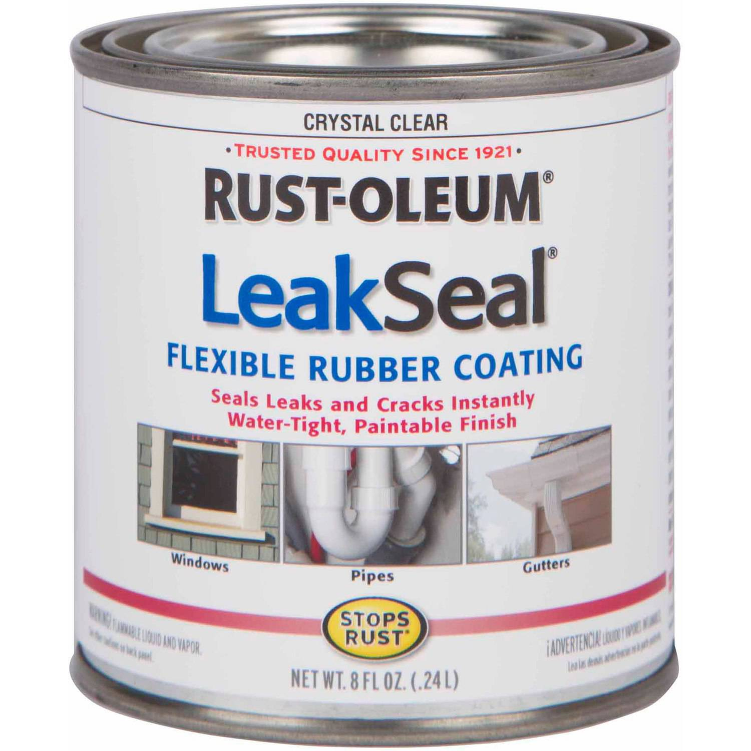 Rust-Oleum LeakSeal Flexible Rubber Coating, 1/2 pt, Clear