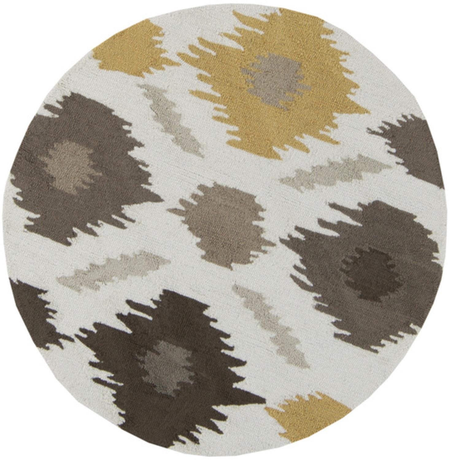 3' Amarillo Gold, Mushroom and Feather Gray Hand Hooked Round Area Throw Rug