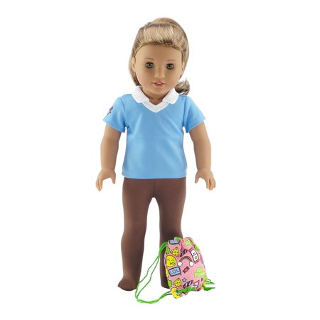 Emily Rose 18 Inch Doll Clothes | Brownie Girl Scout 3 Piece Accessory Pack, Including Tights, Activity Shirt and Girl Power Backpack! | Fits American Girl Dolls | Gift