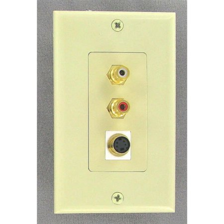 Ivory S-Video Wall Plate With Left and Right Audio