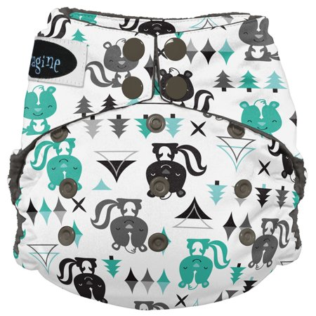 Imagine Baby Products Stay Dry All-in-One Cloth Diaper, Snap, Lil' Stinker, One Size ()