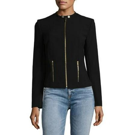 Collarless Zip Jacket (Dkny Cotton Coat)
